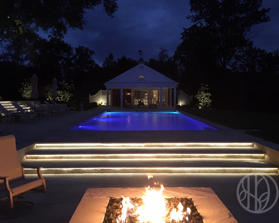 Park Road pool and gas fire pit in Indian Hill Ohio