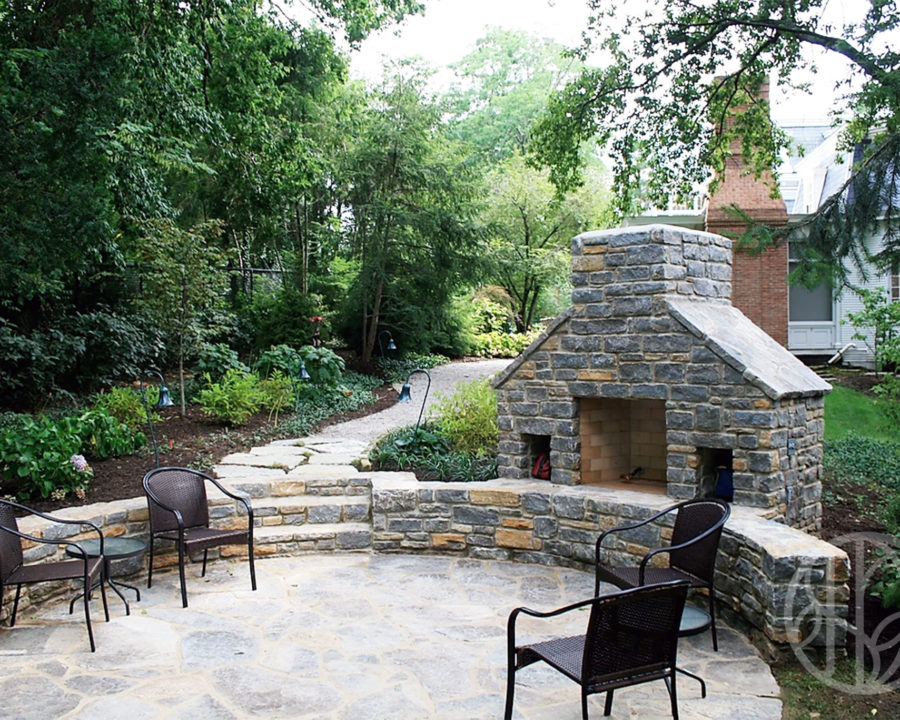 Indian Hill outdoor fireplace and wall