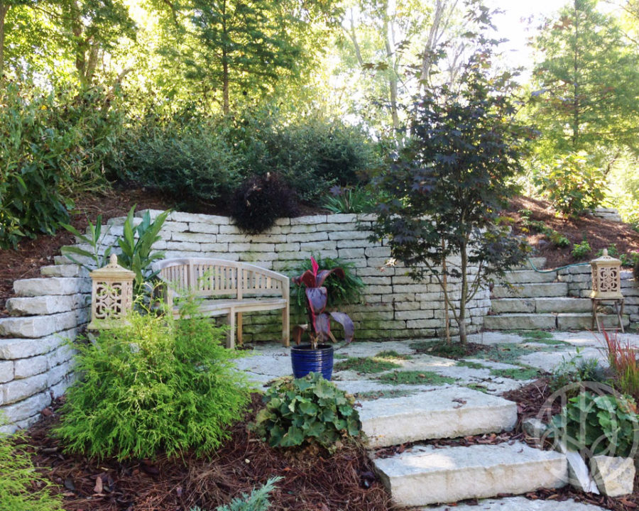 Outdoor patio and retaining wall
